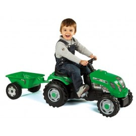 Tractor verde cu pedale si remorca - Smoby-Smoby